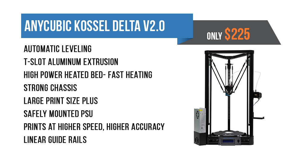 Anycubic Kossel Delta 2018 updated with auto leveling