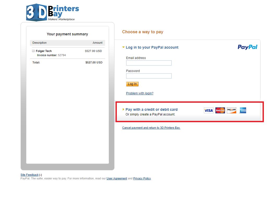 paypal guest checkout 3dprintersbay