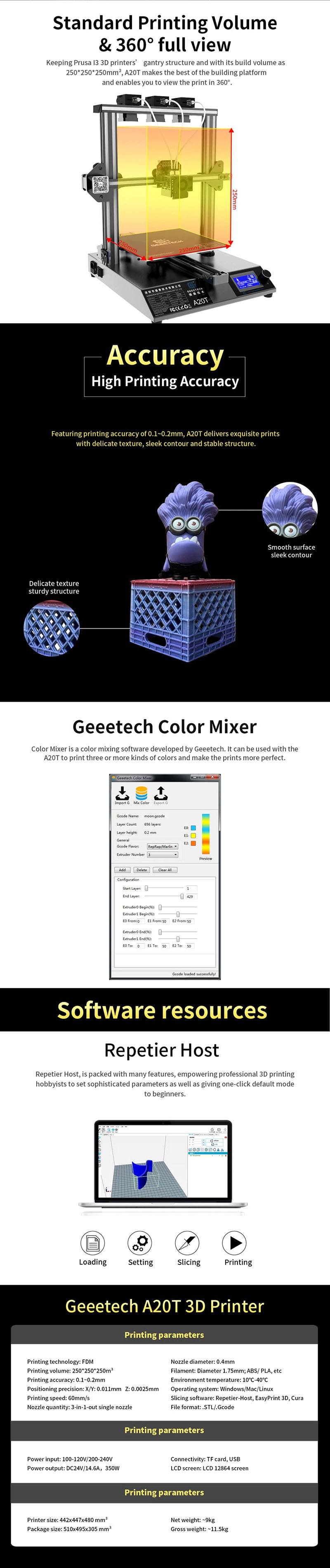 Geeetech A20T 3 in 1 out 3D Printer