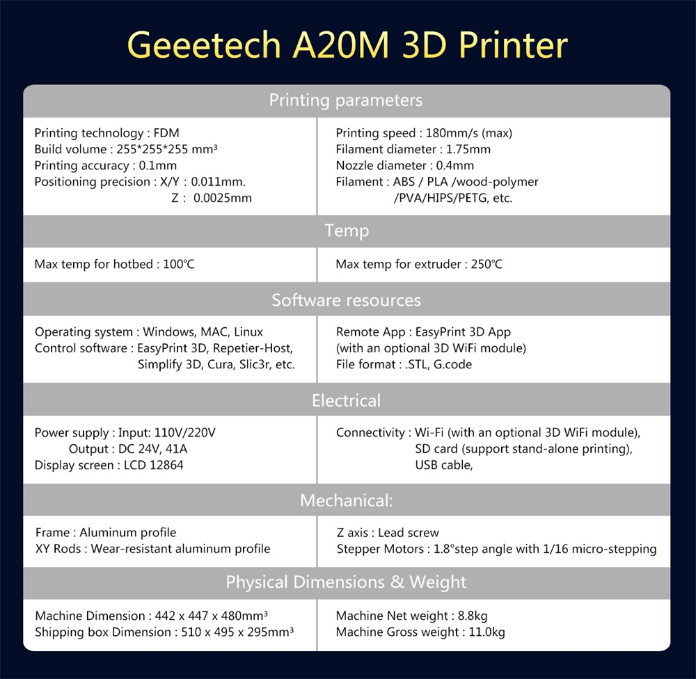 Buy GEEETECH A20M 3D Printer, Dual Mix Color 2 in 1 out 3D Printing